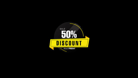50% Percent Sales Discount Banner Animation with QuickTime / Alpha Channel / Prores 4444 Animation