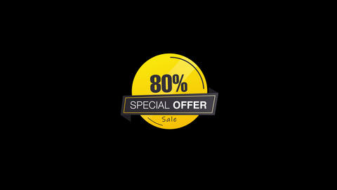 80% Percent Sales Discount Banner Animation with QuickTime / Alpha Channel / Prores 4444 애니메이션