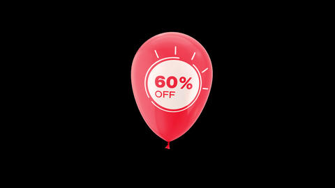 60% Percent Sales Discount Animation with QuickTime / Alpha Channel / Prores 4444 Animation