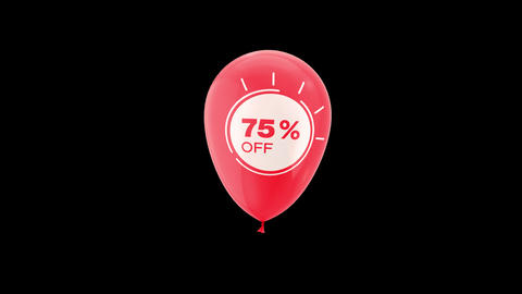 75% Percent Sales Discount Animation with QuickTime / Alpha Channel / Prores 4444 Animation