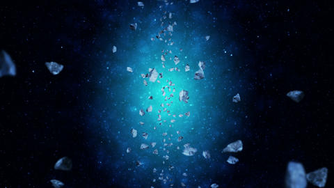 Flying many asteroids in deep space background. Broken splash explosion. The starry sky. 3D CG動画