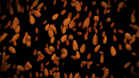 Flying many almonds nuts on black background. Foodstuff, Healthy food, Diet. 3D animation of almond Animation