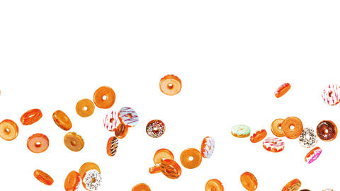 Flying many colorful donuts on white background. Doughnut cake, Sweets, Dessert. 3D animation of Animation