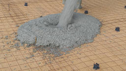 The process of pouring concrete on a prepared base made of sand Live Action