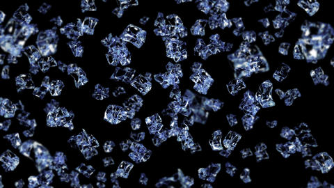 Flying many clean ice cubes on black background. Pieces of crushed ice, Natural water. 3D animation Animation