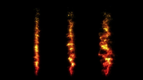 Set of realistic fire or flame animation. Orange fire collection. Burning. Flare or glow. Energy Animation