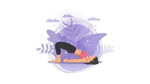 Woman does yoga exercise in nature. Bridge pose. Female cartoon character demonstrating yoga pose. Animation