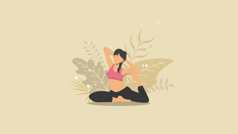 Woman does yoga exercise in nature. Pigeon pose. Female cartoon character demonstrating yoga pose. Animation