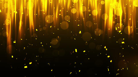 Falling shiny golden confetti. Bright festive tinsel of gold color. Bokeh lights on black 애니메이션