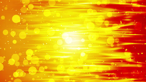 Falling shiny golden confetti. Bright festive tinsel of gold color. Bokeh lights on color Animation