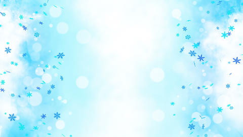 Colorful bright snow crystals swinging in winter background with sun flares. Beautiful nature scene. Animation