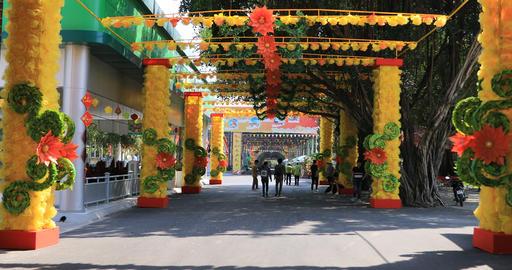 A flower street at Suoi Tien park in Ho Chi Minh Vietnam handheld Live Action
