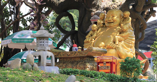 A buddhism statue at Suoi Tien park in Ho Chi Minh Vietnam Live Action