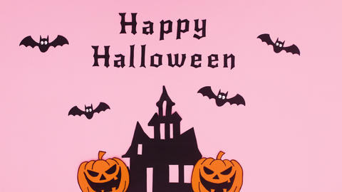 Happy Halloween stop motion animation with bats flying above the creepy house Animation