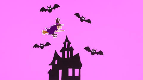 Halloween stop motion animation with witch flying above the creepy house with bats Animation