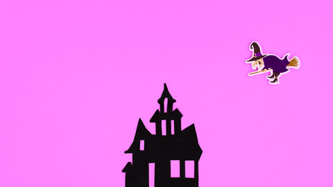 Witch fly out from creepy house. Happy Halloween stop motion Animation
