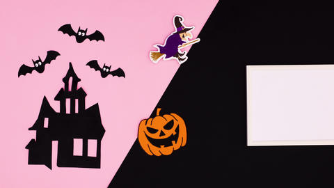 Happy Halloween title and stickers appear on black pink theme. Stop motion Animation
