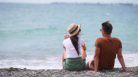 Young couple on white beach during summer vacation Live Action