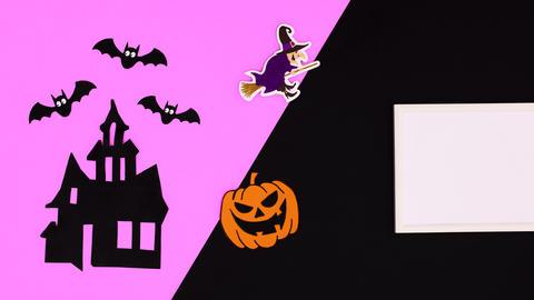 Happy Halloween stop motion animation on purple black theme Animation