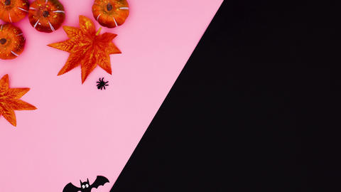 Autumn Halloween stop motion with leaves, pumpkins and bats on pink black theme Animation