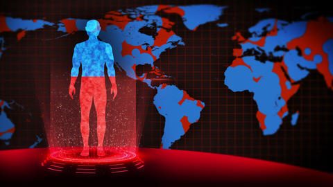 Man and Earth. Medical hologram loop animation. Human virtual body. Earth will dyeing in red and Animation