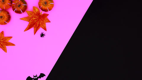 Autumn Halloween stop motion with leaves, pumpkins and bats on purple black theme Animation