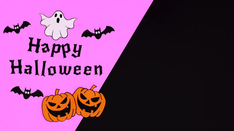 Happy Halloween pumpkins, bats and ghost move on purple black them. Stop motion Animation