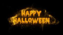 Burning Particle Happy Halloween Text Reveal - Orange CG動画