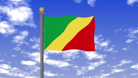 コンゴ共和国の国旗 背景の空には雲が流れています。 CG動画