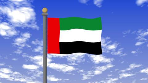 アラブ首長国連邦の国旗 背景の空には雲が流れています。 CG動画