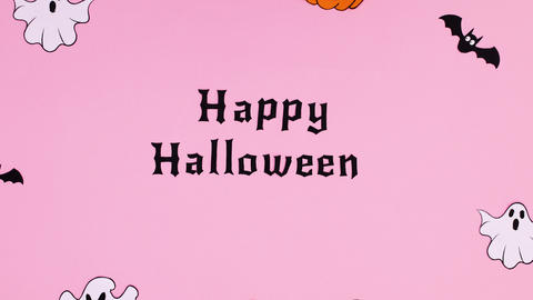 Happy Halloween text and creepy stickers appear . Stop motion Animation