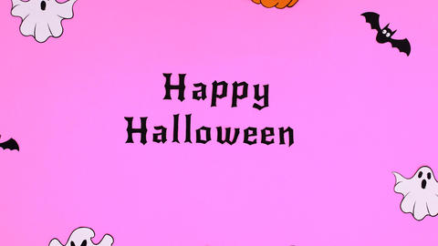 Happy Halloween text and creepy stickers appear on purple theme. Stop motion Animation