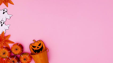 Halloween decoration appear on left side of pink theme. Stop motion Animation