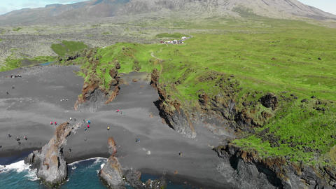 Djupalonssandur coastline in summer season, Iceland. Aerial view from drone Live Action