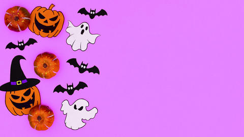 Halloween stickers appear on purple theme. Stop motion Animation