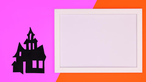Frame for text and creepy Halloween house appear on purple orange theme. Stop motion Animation
