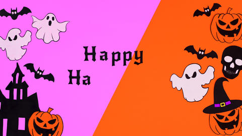 Happy Halloween text with Halloween stickers on left and right side. Stop motion Animation