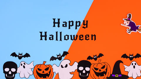 Witch on broom fly above the Happy Halloween text. Stop motion Animation