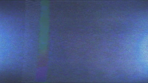 Retro TV. Digital pixel noise vhs effect. Blue light on the CRT. The problems of Live Action