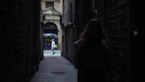 Beautiful long-haired brunette walking around the beautiful city. Young Live Action
