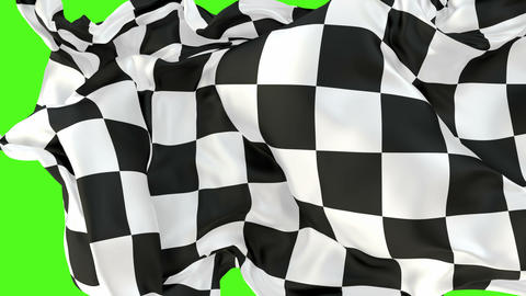 Checkered race flag 60 fps 3D animation with alpha matte Animation