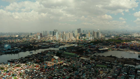 Manila, the capital of the Philippines aerial view Live Action