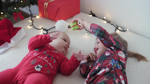merry xmas and happy new year, infant, childhood, holidays concept - close-up 6 Live Action