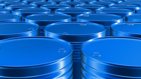 Looping 3D animation of the blue oil barrels in UHD Animation