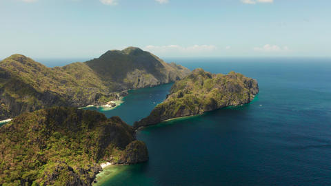 Seascape with tropical islands El Nido, Palawan, Philippines Live Action