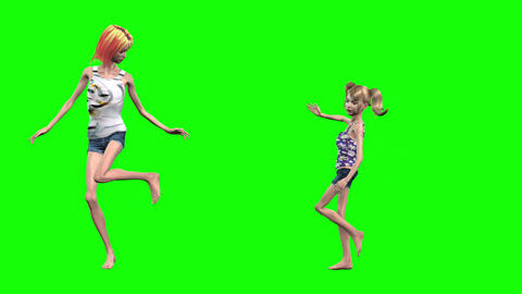 931 HD HEALTH Anorexia 3D animated woman and girl look in mirror and sad from problem Animation