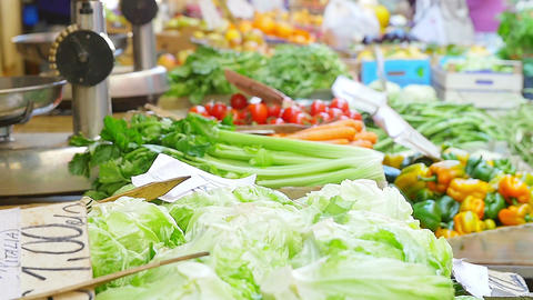 market stand of fruits and vegetable Footage