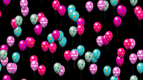 Easter eggs balloons generated seamless loop video with alpha matte Animation