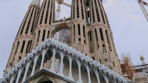 Barcelona, Spain Sagrada Familia towers construction cranes Footage