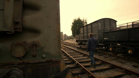 lonely man on the rail tracks Footage
